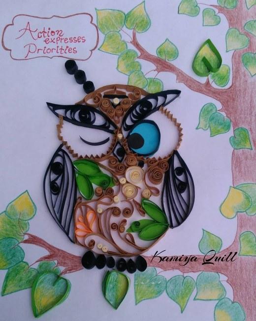 cute owl kreasi paper quilling