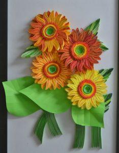 ekspresikan warna dan kreativitas melalui bunga matahari quilling paper