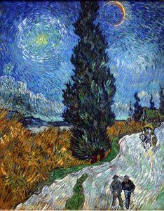 lukisan van gogh tentang jalan dengan pohon sanobar