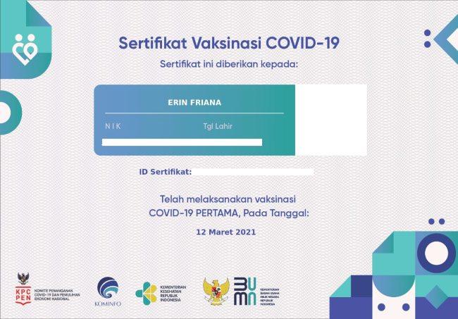 sertifikat pemberian vaksinasi covid