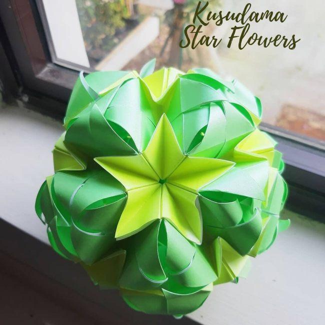 membuat bunga origami star flowwer